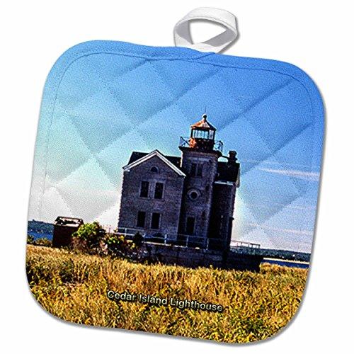 3D Rose Harbor Town Lighthouse at Hilton Head Island at Dusk Pot Holder 8