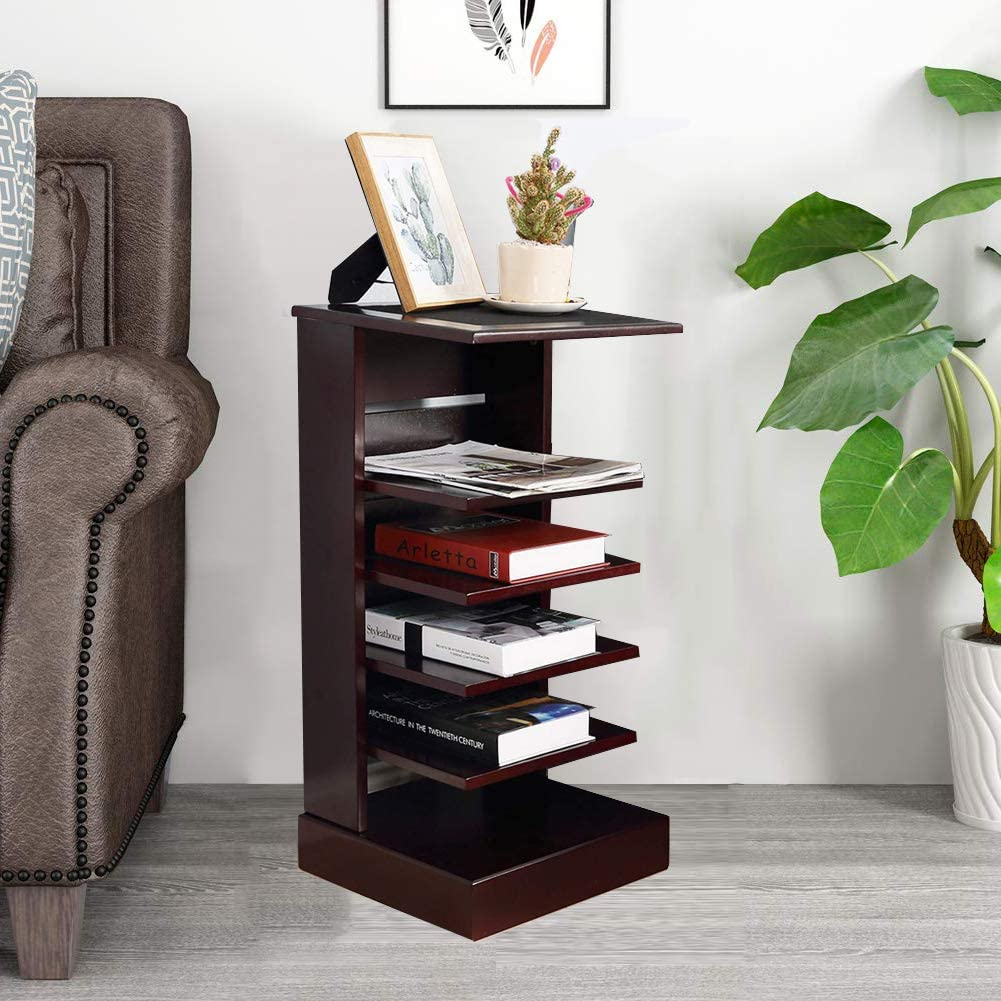 &WOOD LIFE Bookshelf 5-Tier Corner Table Wood Ladder Bookcases Free-Standing End Table for Living Room, Mahogany