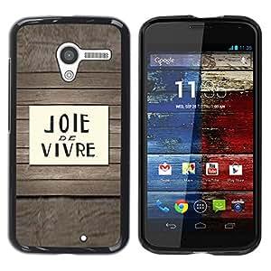 TopCaseStore / la caja del caucho duro de la cubierta de protección de la piel - Joie De Vivre French Quote Saying Text - Motorola Moto X 1 1st GEN I XT1058 XT1053 XT1052 XT1056 XT1060 XT1055