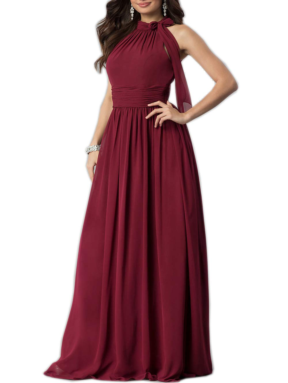Roiii Women Cleb Prom Formal Casual Party Cocktail Wedding Evening Sleeveless High Waist Chiffon Plus Size Dress (Small, Wine Red)