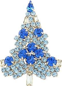 EVER FAITH Women's Austrian Crystal Art Deco Daily Christmas Tree Brooch