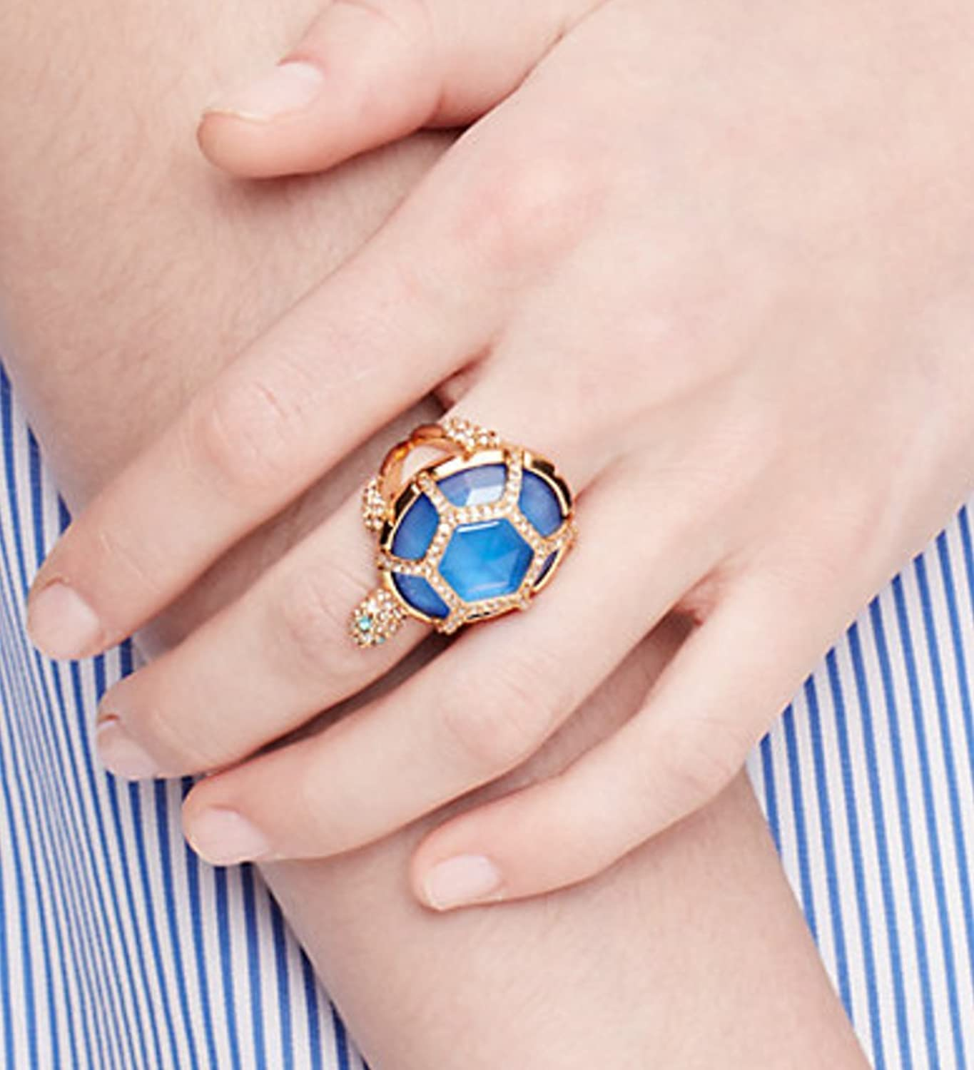 Amazon.com: Kate Spade Paradise Found Pave Blue Crystal Turtle Ring ...