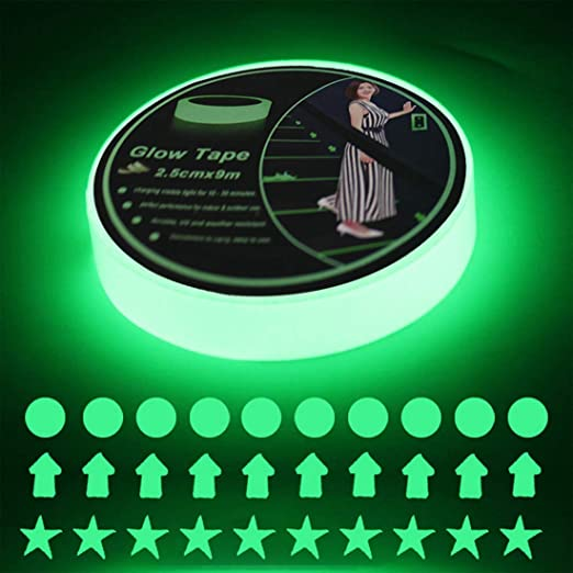 Easy to Use /& Waterproof 8 Hour Glow Glow in The Dark Luminous Tape Clicks 20 x 0.8 Made with Premium Quality Non-Toxic Materials