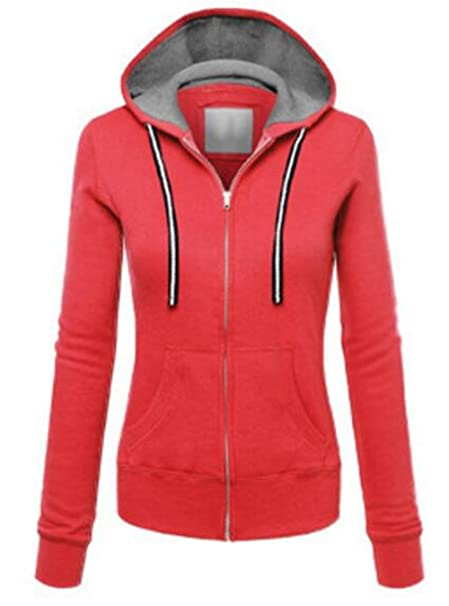 BESTHOO Chaquetas con Capucha Mujer Jacket Manga Larga Outwear Deportivo Universidad Abrigos Color SÓLido Chaquetas Running Top con Bolsillo: Amazon.es: ...