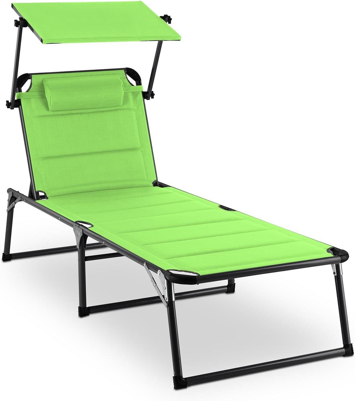 blumfeldt Amalfi - Tumbona Plegable, Hamaca con Parasol, Respaldo reclinable, Relleno de Goma Espuma, Cojín para la Cabeza, Superficie Acolchada, Resistente al Clima Exterior, Verde: Amazon.es: Jardín