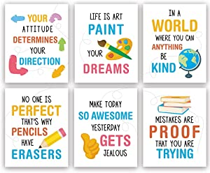 "Colorful Inspirational Quotes Art Print,Motivational Sayings Wall Art Poster,Set Of 6(8""X10"",Unframed) Positive Words Canvas Painting For Classroom,Nursery,Playroom Decor"