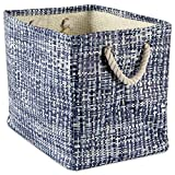 """DII Woven Paper Storage Basket or Bin, Collapsible & Convenient Home Organization Solution for Office, Bedroom, Closet, Toys, & Laundry (Large - 17x12x12""""), Nautical Blue Tweed"""
