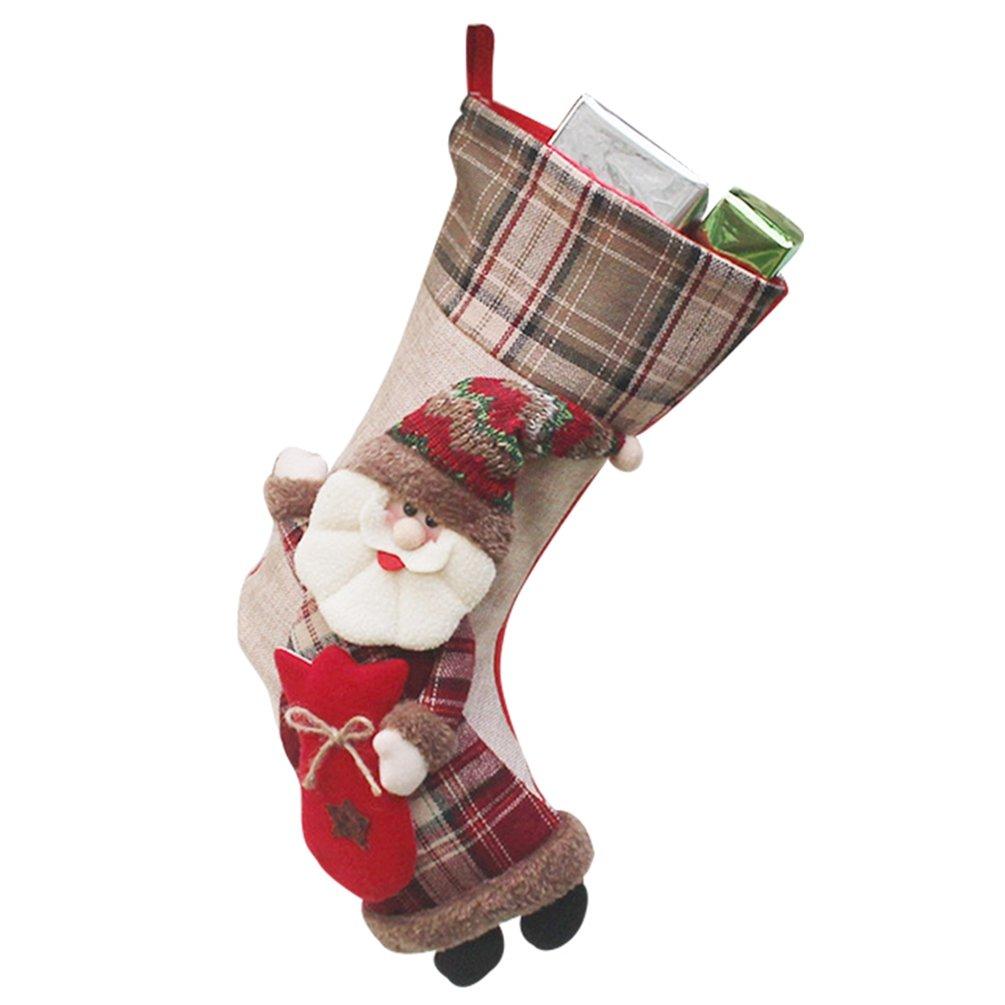 YiLianDa Calze Di Natale 3D Santa Calza Di Natale Di Natale Appesi Calzini Di Natale Calze Regalo