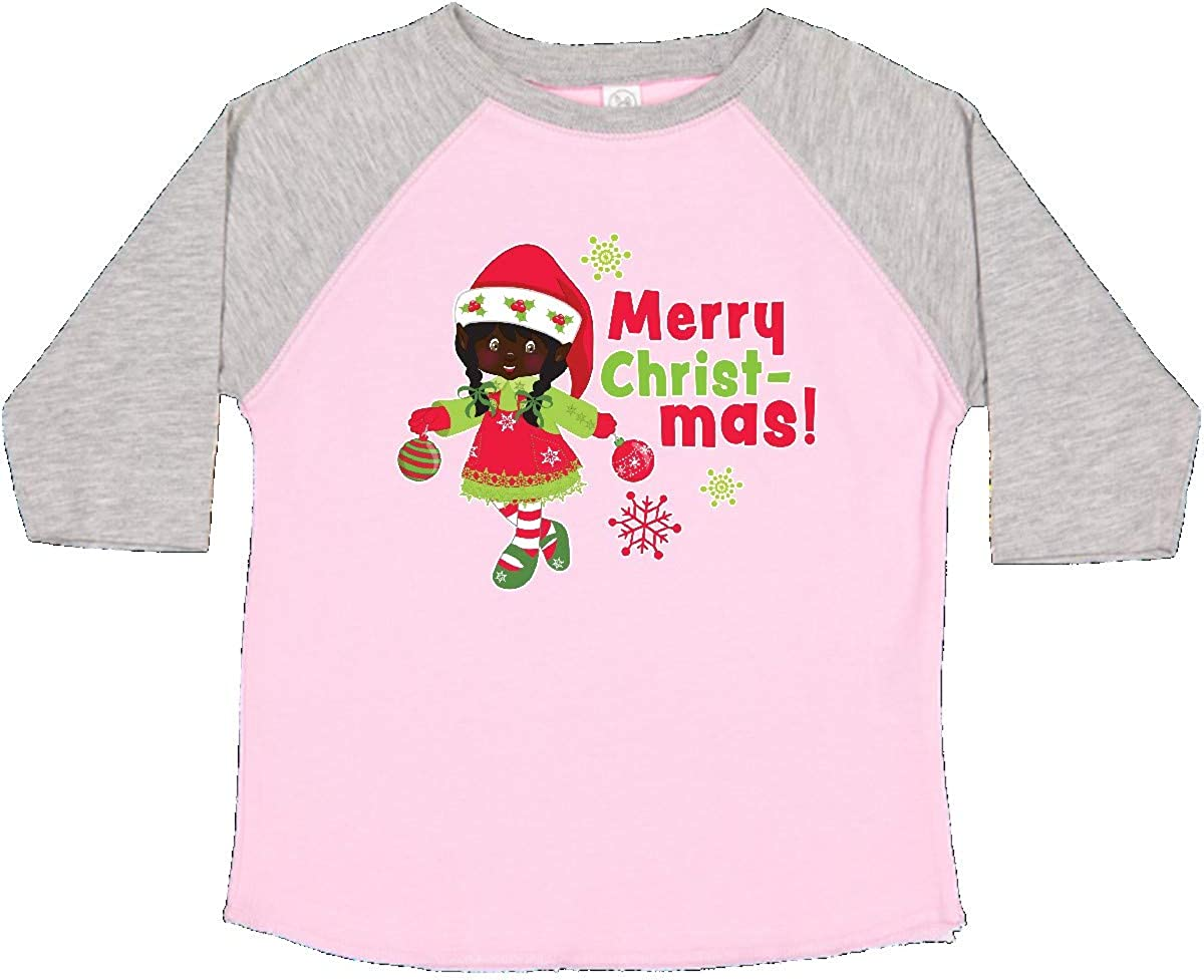 inktastic Merry Christmas Elf with Black Hair and Snowflakes Toddler T-Shirt