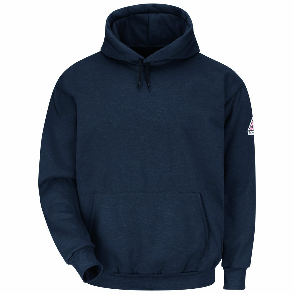 Bulwark Flame Resistant 11 oz Modacrylic Fleece Pullover Hooded Sweatshirt, Navy, 3X Large Long