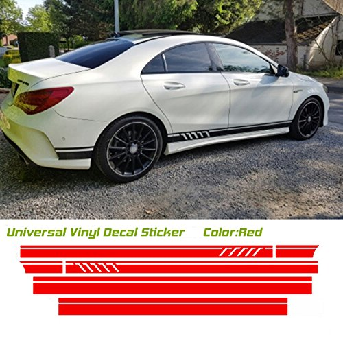 Universal Car Racing Body Side Stripe Skirt Roof Hood Decal Sticker for All Cars Vinyl Bumper Decal(4Pcs) (Red)