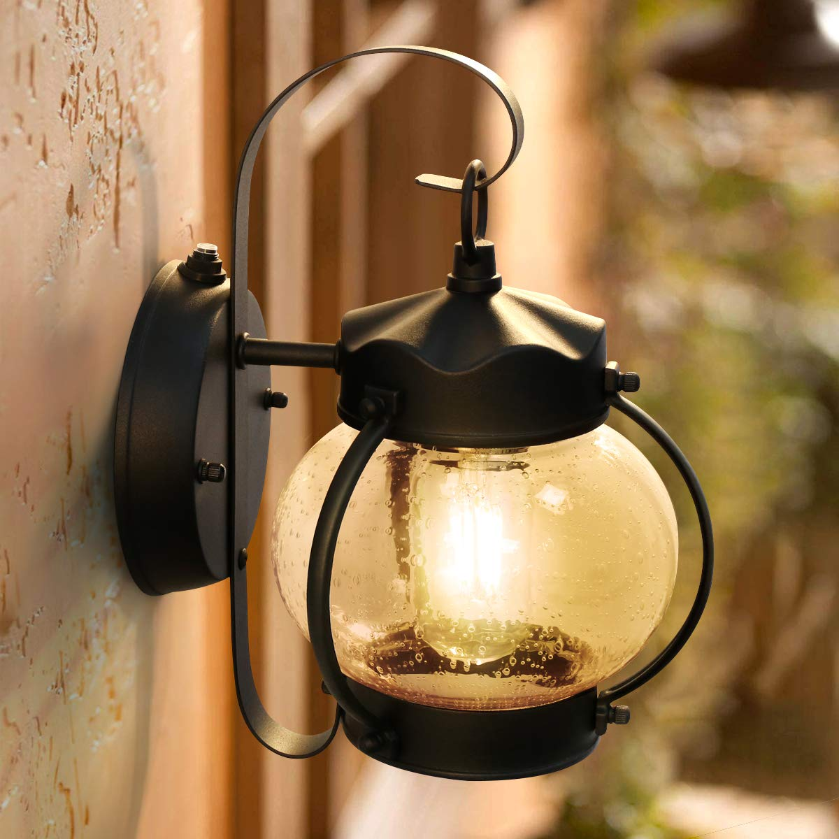 Dusk to Dawn Sensor Outdoor Porch Light, Lamomo Outdoor Light Lantern Wall Sconce Fixture with E26 6W Led Light Bulb, Anti-Rust Waterproof Black Lamp for Garden, Porch, Villas, Court-Yard by Lamomo