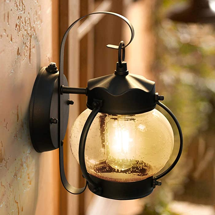 Dusk to Dawn Sensor Outdoor Porch Light, Lamomo Outdoor Light Lantern Wall Sconce Fixture with E26 6W Led Light Bulb, Anti-Rust Waterproof Black Lamp for Garden, Porch, Villas, Court-Yard