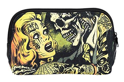 Liquorbrand Horror B Movie Cartoon Art Travel Pouch Cosmetic Bag by Liquorbrand by Liquorbrand