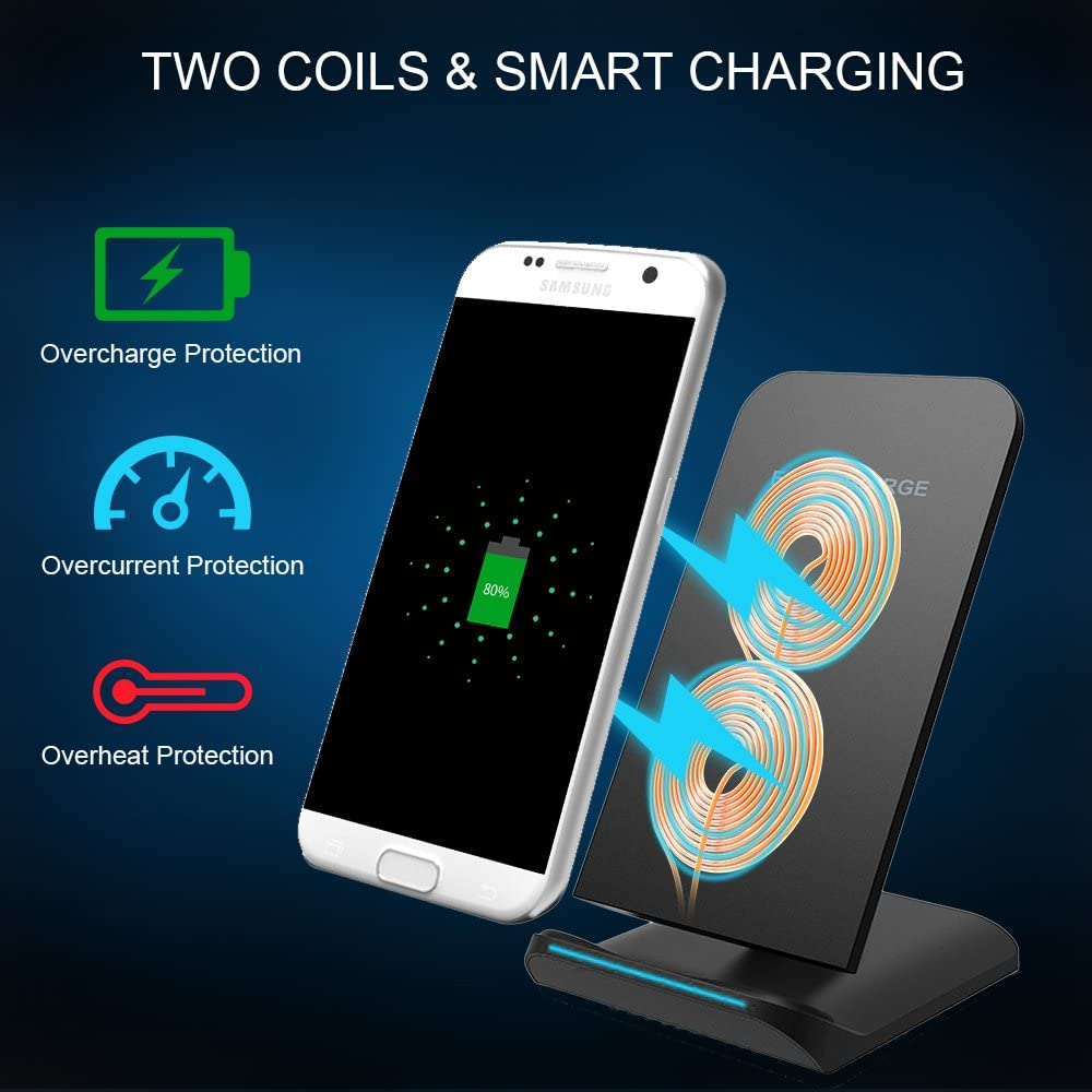 no AC Adapter 8//8 Plus and All Qi-Enabled Devices Guzack Wireless Chargers QI Fast Wireless Charging Stand Pad for Samsung Galaxy Note 8 S8 S8 Plus S7 S7 Edge Note 5 S6 Edge Plus Apple iPhone X
