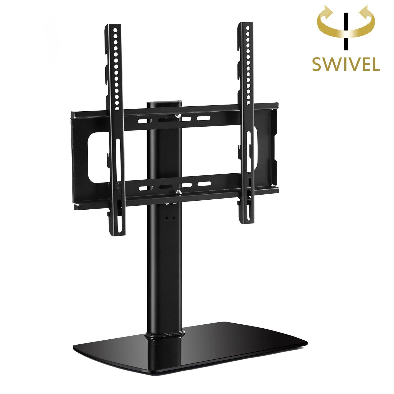Rfiver Meuble Tv Pivotant Design Support Tv Pieds En Verre  # Meuble Tv Sur Pied Pivotant