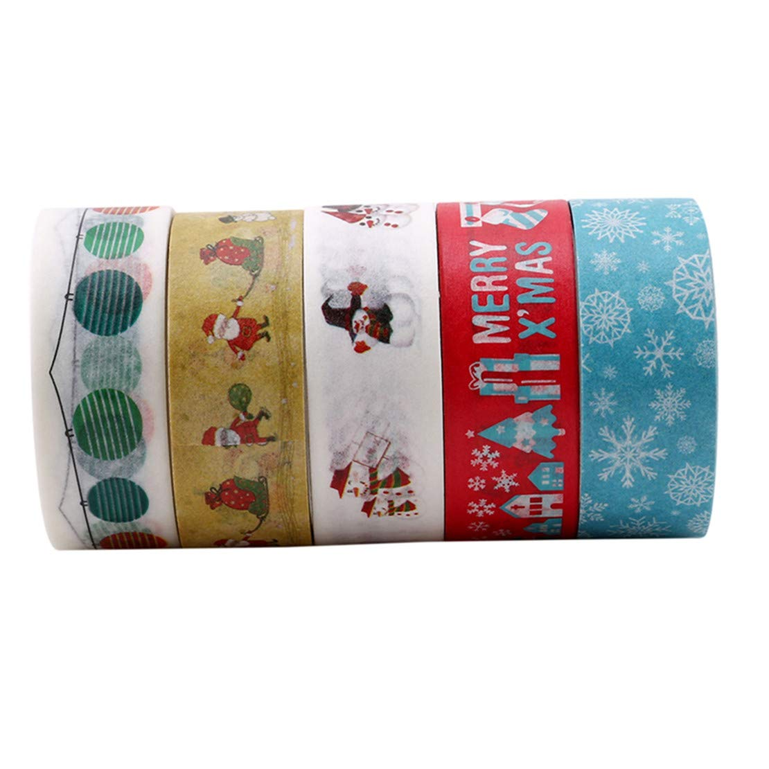 pack Christmas Decorative Washi Tape DIY Adhesive Scrapbooking Stickers(Style 5 Winwinfly 10Pcs