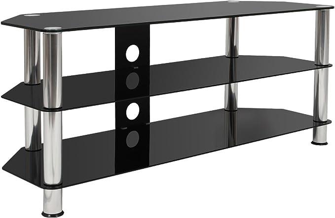 Color de Negro Material de Cristal y Acero Festnight Elevador de Monitor//Soporte de TV 100x35x17 cm