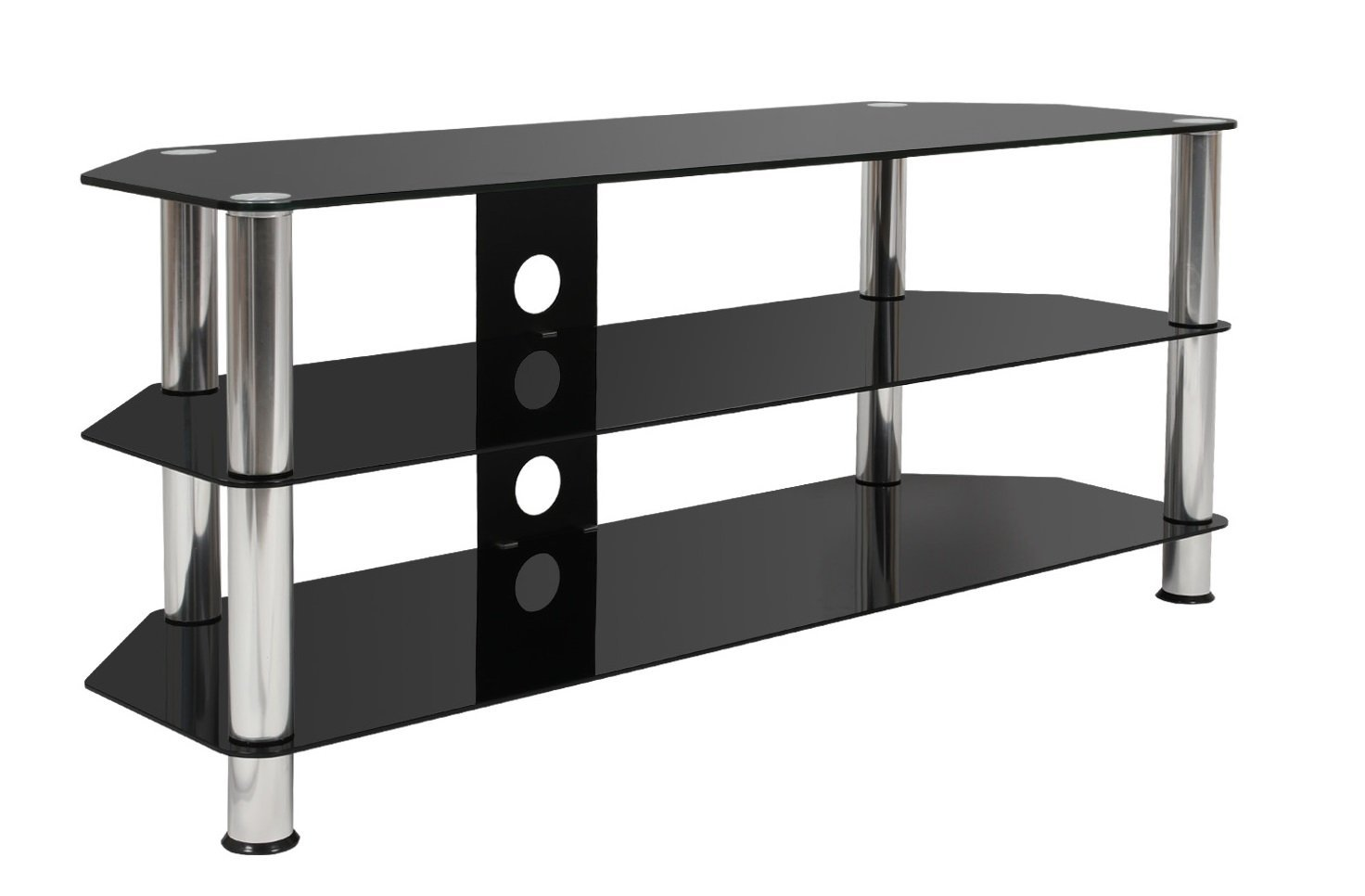 Mountright UMB4 Black Glass TV Stand 120 Centimetre Wide For Most Televisions 32 Up To 58 Inch MRUMB4