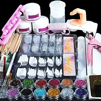 Amazon.com: Coscelia Acrylic Powder Glitter Nail Art Kit False Nail ...