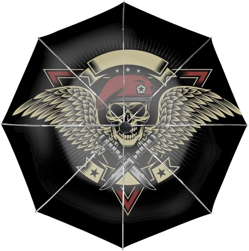 Military Skull With Wings Compact Travel Umbrella with Windproof Double Canopy Construction Auto Open//Close Button