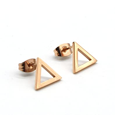 9c3d0bd758a Image Unavailable. Image not available for. Color: 14K Rose Gold Plated  Stainless Steel Stud Earrings ...