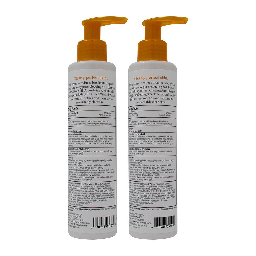 derma e Clear Skin 1 Problem Acne Skin Cleanser, 6 fl oz 175 ml Pack of 2