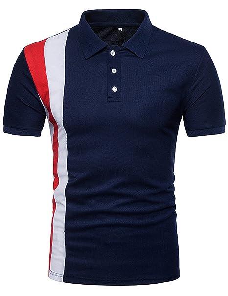 Polo Hombres Camiseta Casual de Manga Corta Moda Deportiva Slim Fit Contraste grZQgOvW