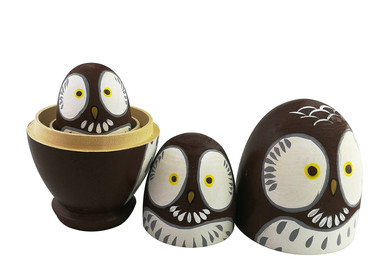 Adorable Lovely Animal Theme Big Round Eyes Brown Wise Owl Egg Shape Wooden Handmade Nesting Dolls Matryoshka Dolls Set 10 Pieces for Kids Toy Birthday Home Kids Room Decoration by Winterworm (Image #9)