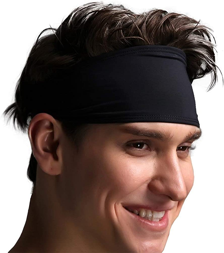Mens Headband Cycling Football Tennis Exercise Athletic Sweatbands for Running Baseball Basketball Yoga Sports /& Workout Sweat Head Bands Performance Stretch Hairband /& Moisture Wicking