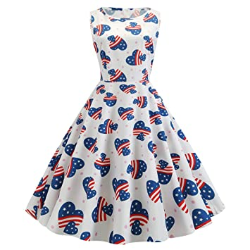 Midress Women 40s 50s Vintage Sleeveless V Neck American Flag July 4th Printing Evening Party Swing Dress Cocktail Dresses