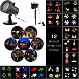 Xmas Decorative Projector Lights Outdoor, ONEVER Led Christmas Landscape Lightings Waterproof, 12 Replaceable Pattern Slides for Christmas Halloween Birthday Wedding Partie
