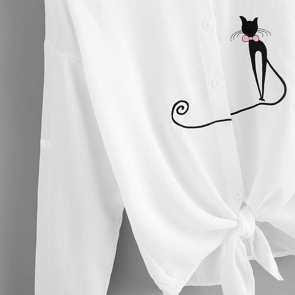 ◕‿◕LianMengMVP Femmes Imprimer Le Chat Chemise /à Ourlet nou/é Blouse /à Manches Longues Bouton Tops