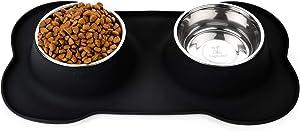 DogBuddy Dog Bowls, Dog Bowl for Food & Water, Dog Food Bowls for Medium & Large Dogs, Stainless Steel Dog Bowls, Dog Feeder with Dog Bowl Mat, Pet Bowl & Pet Food Mat Set