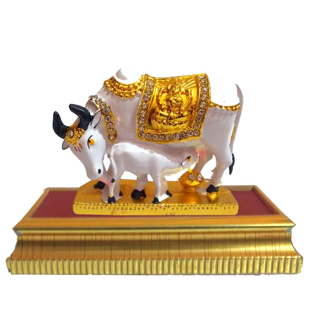 Brass Kamdhenu Figurine Statue Indian Ethnic Cow Sculpture Religious Table Decor