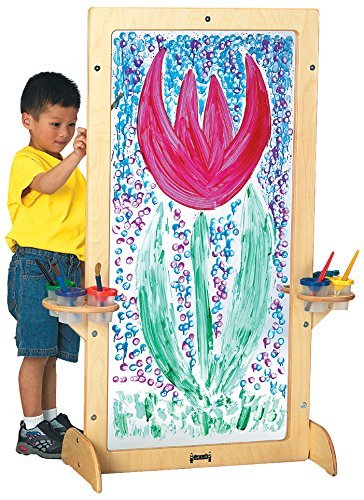 Join Me Toys Most Popular Childrens Kids Toddlers Full Size Deluxe Professional Two-Sided Clear Acrylic See-Through Artist Creative Painting Art Easel with Dual (2) Cup Brush - Deluxe Easel Acrylic