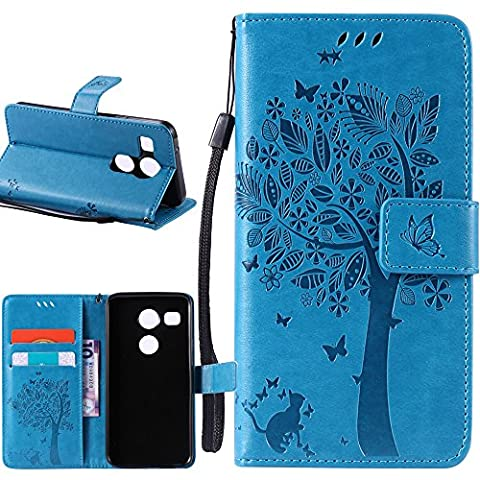 Nexus 5X Case, Harryshell(TM) Wallet Folio Leather Flip Case Cover with Card Slot Wrist Strap for LG Google Nexus 5X / 5 2nd Gen (Lg Nexus 5 Cases For Girls)