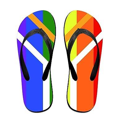 9883812a07b3 Amazon.com  Unisex Summer LGBT South Africa Gay Pride Flip Flop Shower  Sandal  Clothing