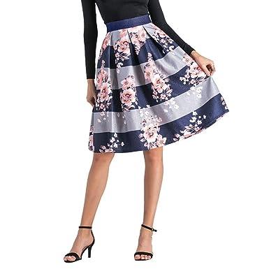 b9be570c6b7b22 FOANA Jupe Femme Mi-Longue Au Genou PlisséE éVaséE Taille Haute à ...