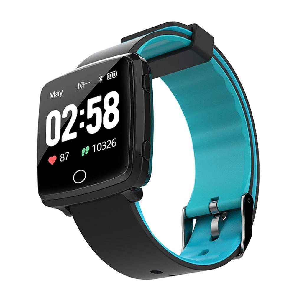 YangMi Sports Bracelet- Men and Women Multi-Function Intelligent Sports Bracelet Monitoring Heart Rate Blood Pressure Sports Waterproof Watch Students (Color : Blue)