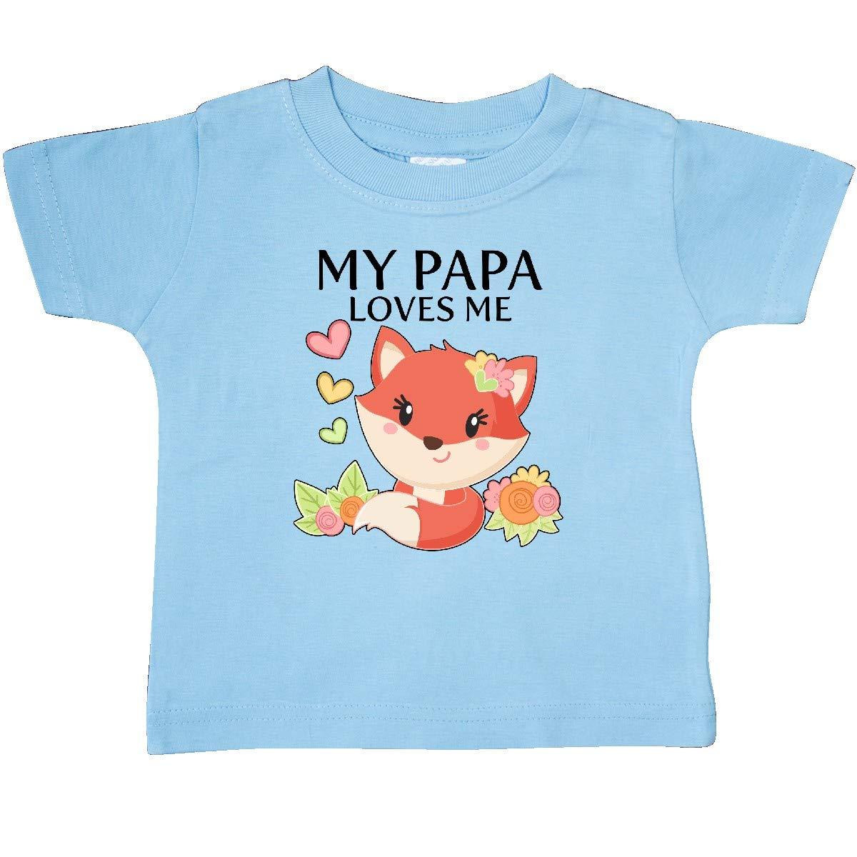 inktastic My Papa Loves Me Little Fox Baby T-Shirt