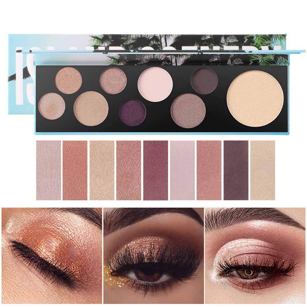 Eyret Matte and Shimmer Eyeshadow Palette 9 Colors Long Lasting Natural Eyeshadow Pallet Easy to Blend Eye Shadow Beauty Make up for Women and Girls (Gold 1#)