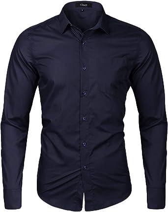 iClosam Camisa Casual Hombre Manga Larga Slim Fit para Traje, Business, Bodas, Tiempo Libre Camiseta EláStica Casual/Formal para Hombre: Amazon.es: Ropa y accesorios