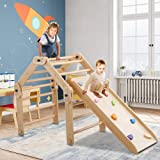 Dripex Foldable Pikler Triangle Climber with Ramp - Modifiable Wooden Pikler Triangle and Reversible Slide with Color Stones