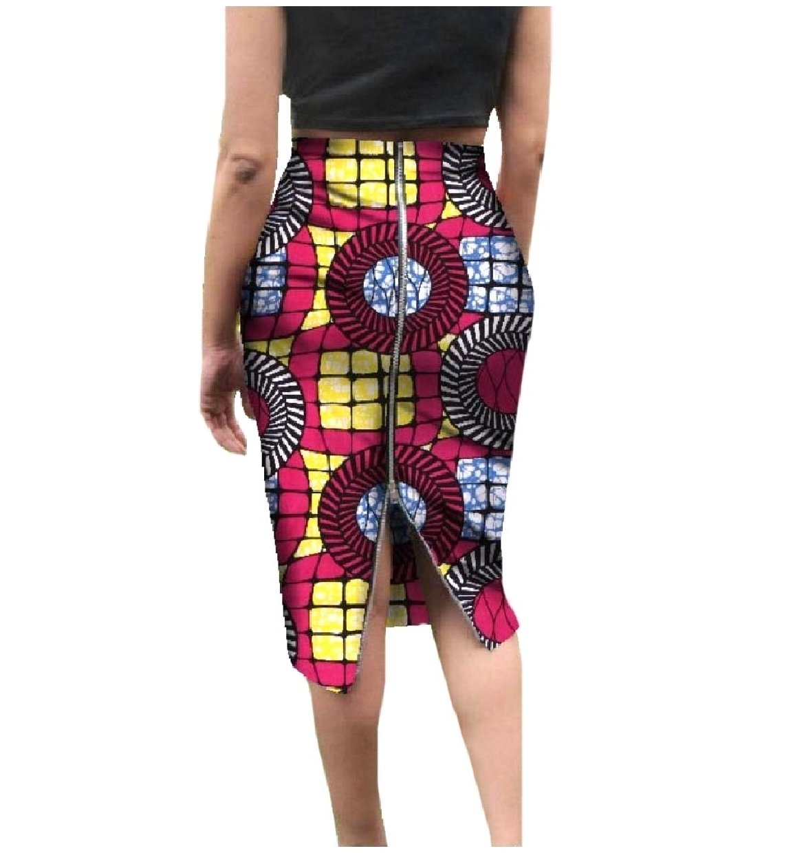 SportsX Womens Dashiki African Wax Fabric With Zips Fine Cotton Skirt Rose Red 2XL by SportsX (Image #1)