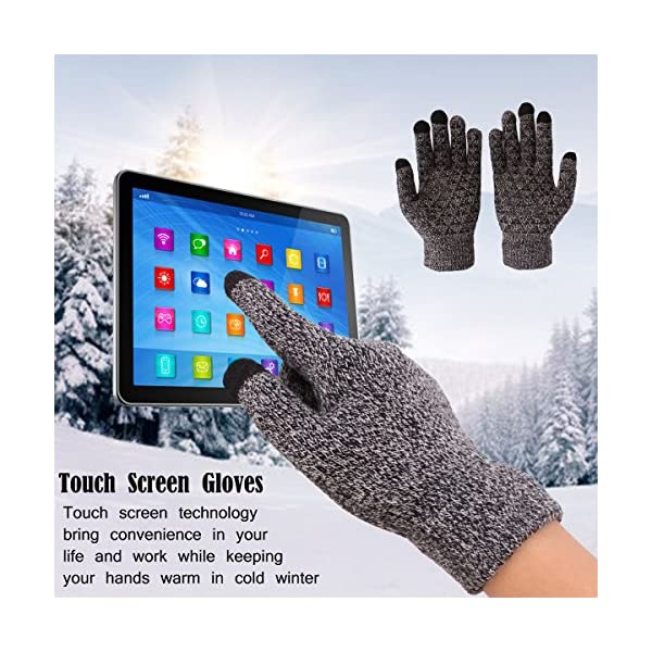 Achiou Winter Knit Gloves Touchscreen Warm Thermal Soft Lining Elastic Cuff Texting Anti-Slip 3 Size Choice for Women Men