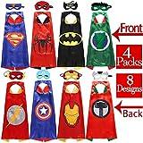 Sholin Superhero Dress up Costumes 4 Double-Sided Design Satin Capes with 8 Felt Masks