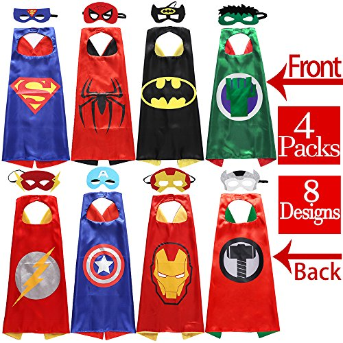 Sholin Superhero Dress Up Costumes 4 Double Sided Design Satin Capes With 8 Felt Masks