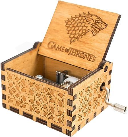 Meiion Antigua caja de música de madera tallada música de manivela ...