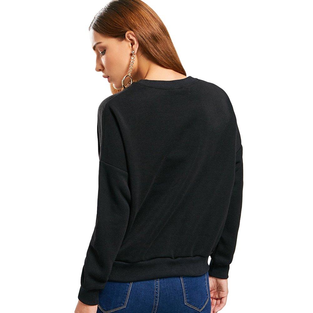 e5fd28aa18 ZAFUL Women's Long Sleeve Crew Neck Drop Shoulder Planet Print Sweatshirt  (Black) at Amazon Women's Clothing store: